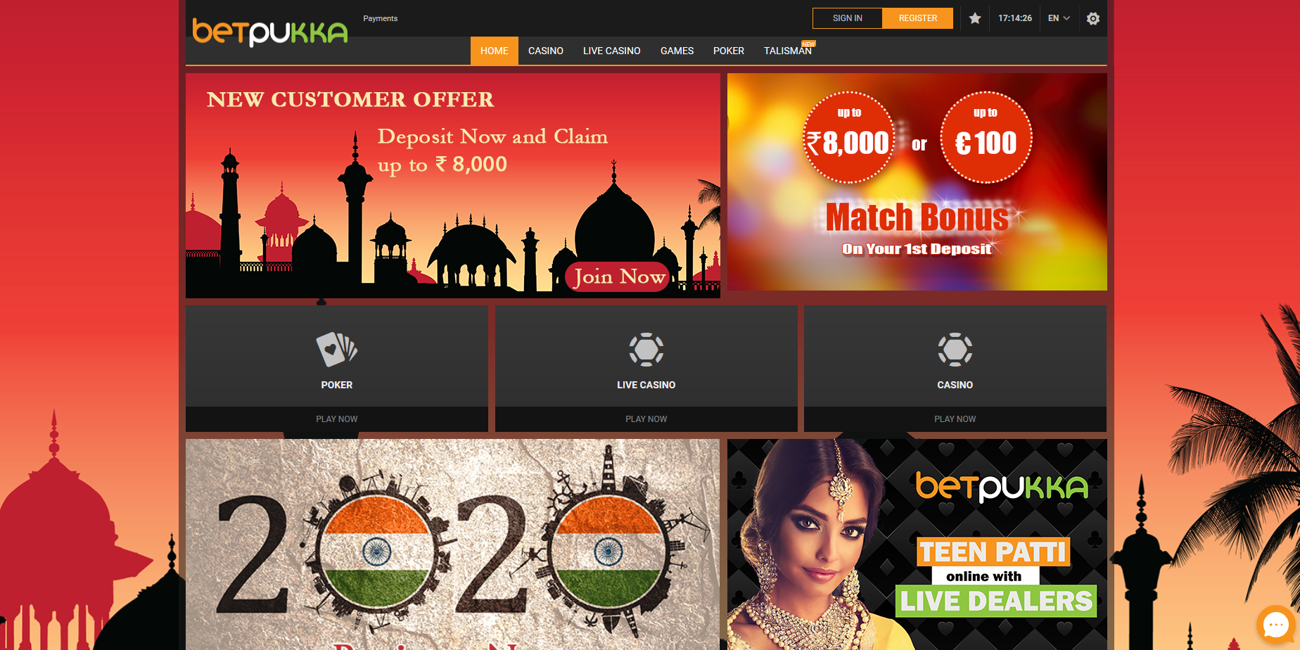 the image shows the home page of Betpukka.com casino