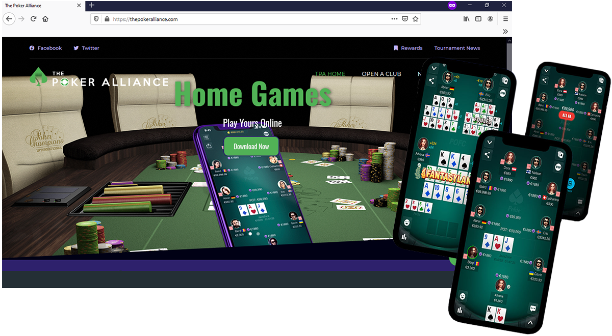 laptop and mobile screens showing the poker alliance